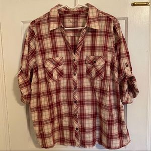 Rolled Sleeve Plaid Button Down Shirt